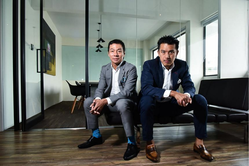Terence Loh (left) will transfer all shares in Bellagraph Nova Group to Nelson Loh for S$1 and resign as its director.