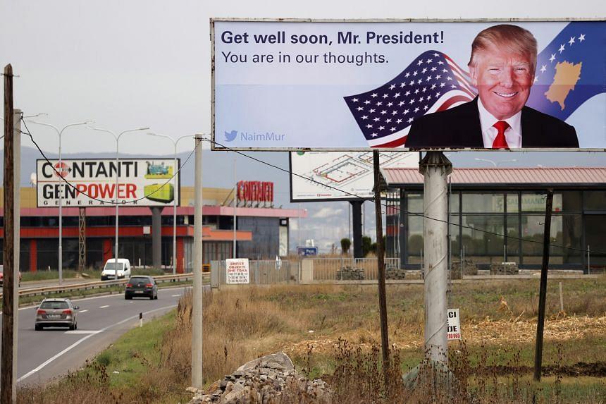 A billboard near Pristina International Airport in Slatina, Kosovo, yesterday.