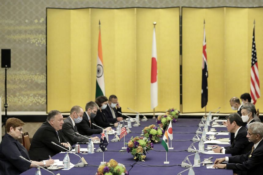US Secretary of State Mike Pompeo (second from left) at the Quad session in Tokyo yesterday with Japan's Foreign Minister Toshimitsu Motegi (second from right), India's Foreign Minister Subrahmanyam Jaishankar (right) and Australia's Foreign Minister
