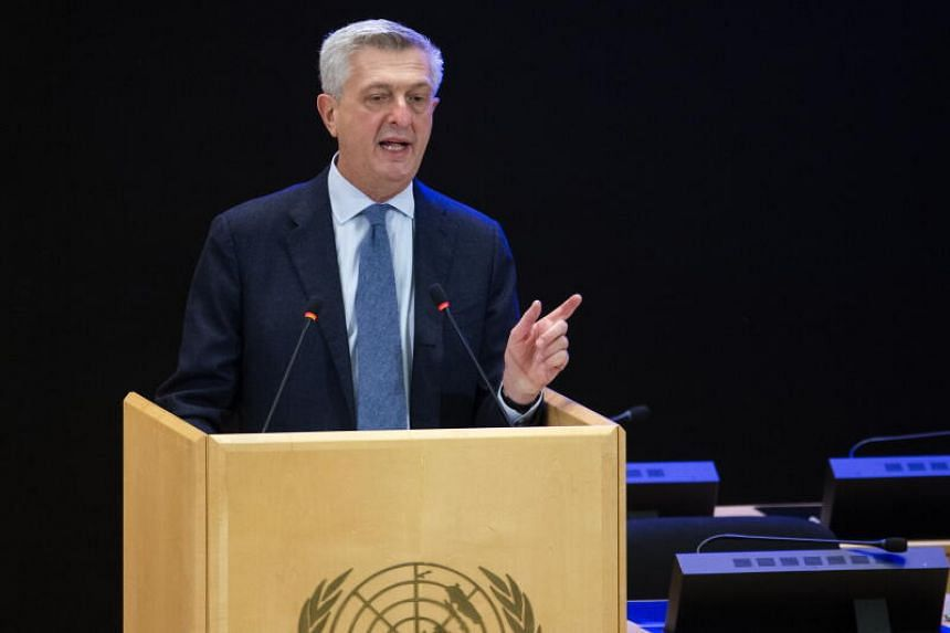 UN refugee chief Filippo Grandi had addressed delegates from the podium in the UN Assembly Hall in Geneva on Oct 5, 2020.