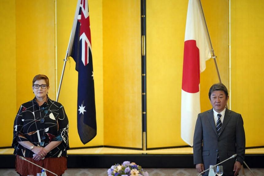 Australian Foreign Minister Marise Payne (left) alongside her Japanese counterpart Toshimitsu Motegi at the Iikura Guest House in Tokyo on Oct 7, 2020.