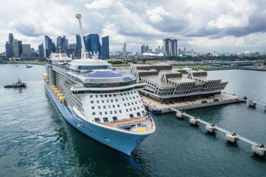 Royal Caribbean's Quantum of the Seas next to the Marina Bay Cruise Centre.