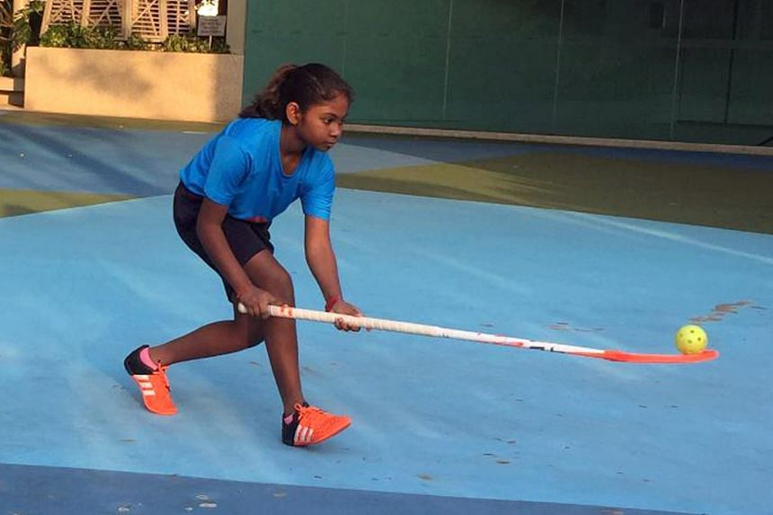Durga Devi Viknesyaran has been practising floorball drills on her own after the National School Games were axed in May. The competition will be back next year, giving her the chance to play for Keming Primary School in her PSLE year.