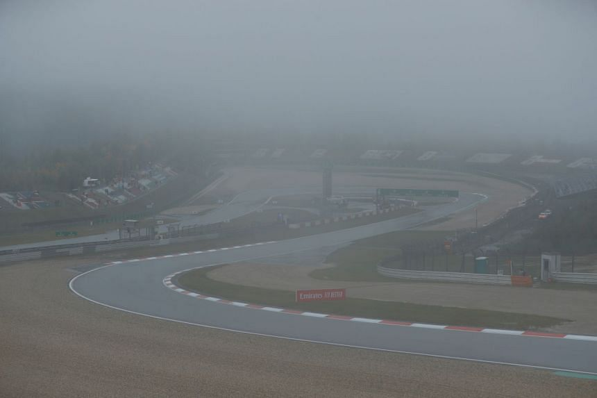 A general view as the weather on Oct 9, 2020, at the Nurburgring circuit.