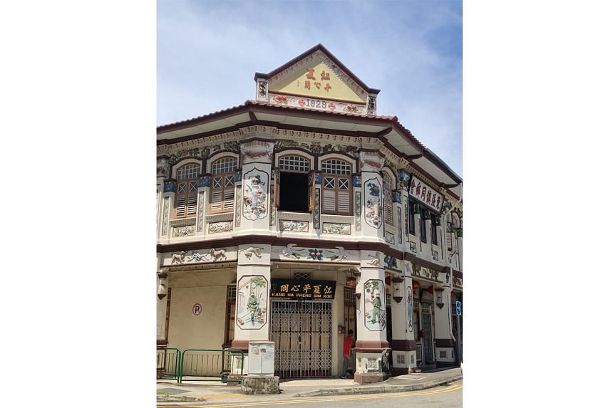 This shophouse at the junction of Lorong 19 and Lorong Bachok was built in 1929 and has panels depicting classic Chinese tales, as well and Sikh and Sepoy guards on pillars flanking the entrance.
