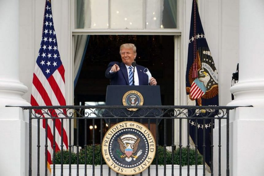 Trump addresses supporters from the South Portico of the White House.