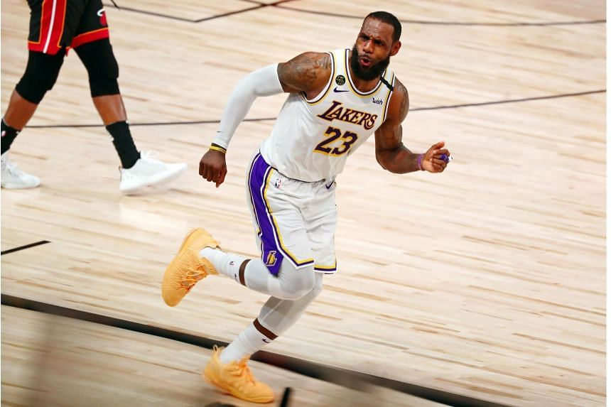 Los Angeles Lakers' LeBron James celebrates during the 2020 NBA Finals on Oct 11, 2020.