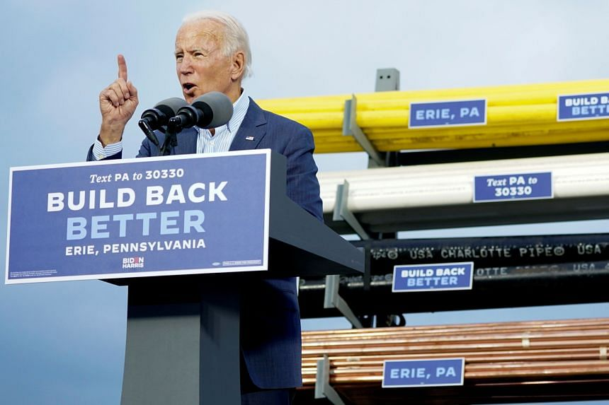 Democratic candidate Joe Biden speaking at a campaign event in Erie, Pennsylvania, last Saturday, hours after a judge there rejected the Trump campaign's challenge to the state's vote-by-mail procedures.
