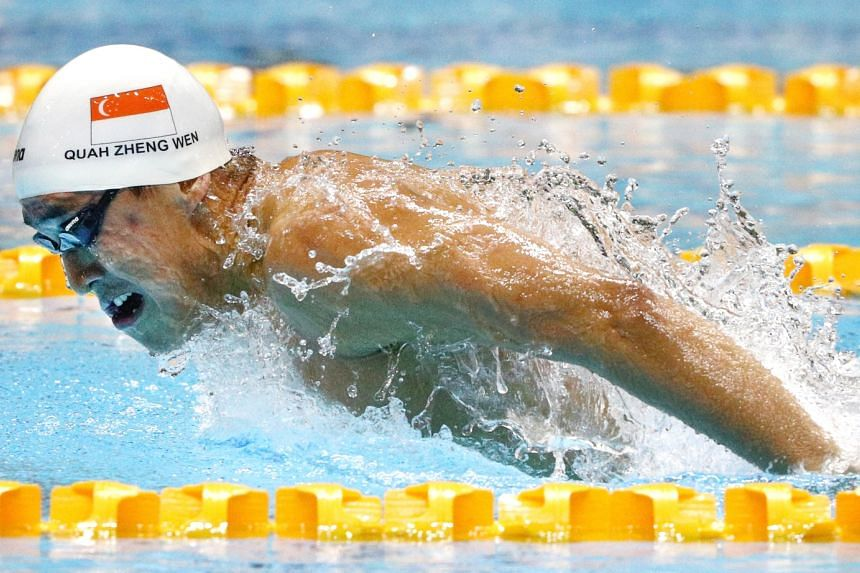 Quah Zheng Wen on his way to the 200m butterfly title at last year's SEA Games in the Philippines, where he earned six golds and two silvers.