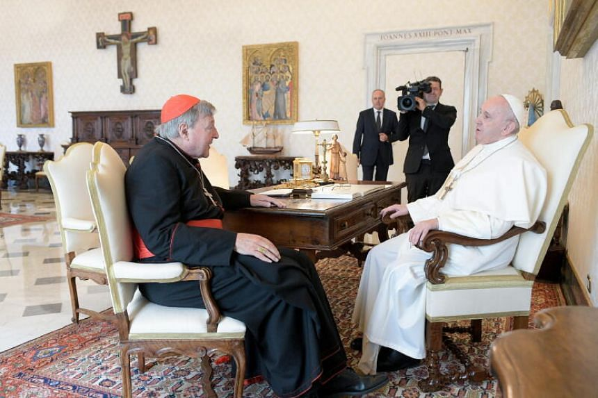 Pope Francis held a private audience Australian Cardinal George Pell on Oct 12, 2020.