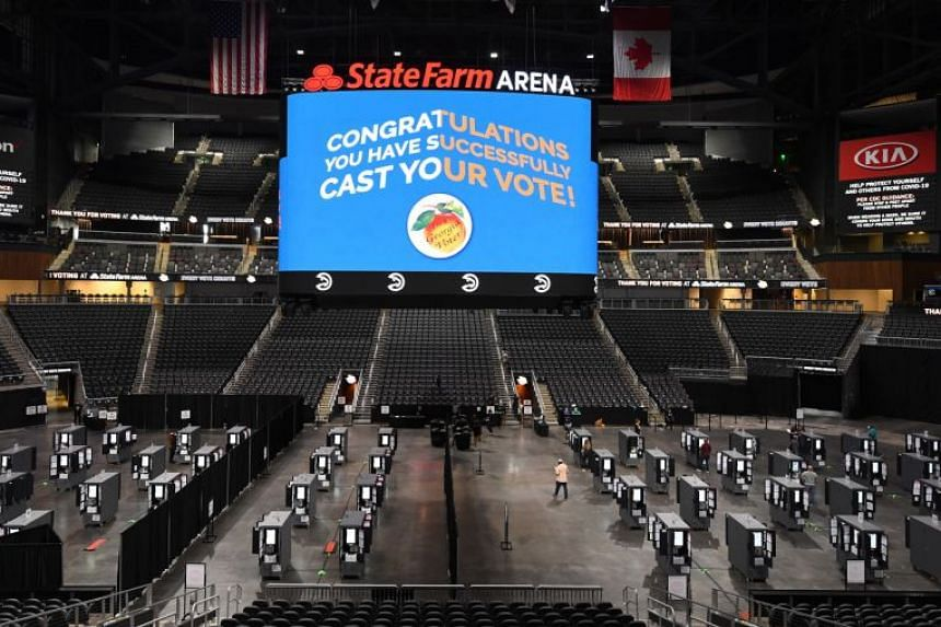 The State Farm Arena used as a polling place on the first day of early voting in the US Presidential election on Oct 12, 2020.