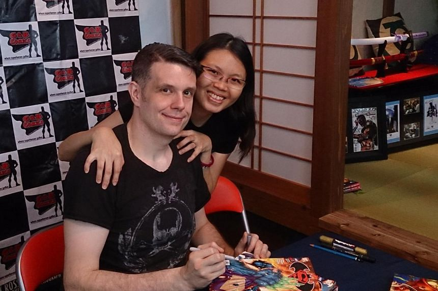In the graphic novel Starlight Cats #1: Merlion Rising, created by American comic artist Shane Davis and his wife, Singaporean Lin Yanzi (both above), a Singaporean girl helps super-powered cats fight aliens.