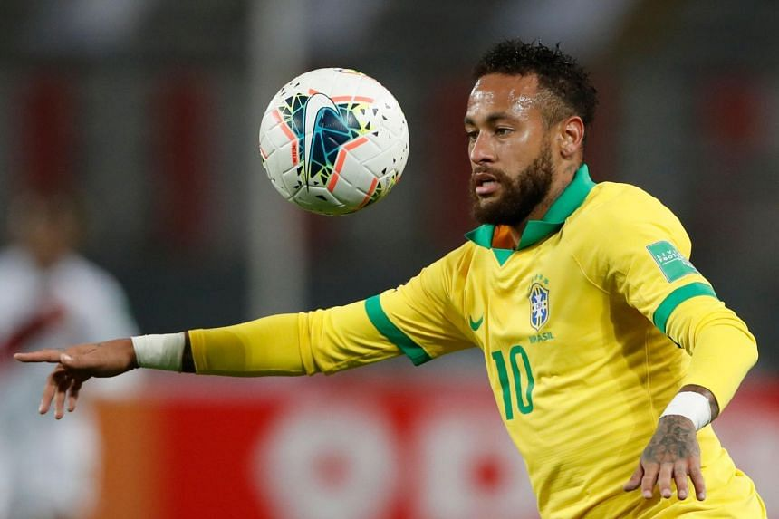 Brazil's Neymar during the 2022 FIFA World Cup South American qualifier against Peru on Oct 13, 2020.