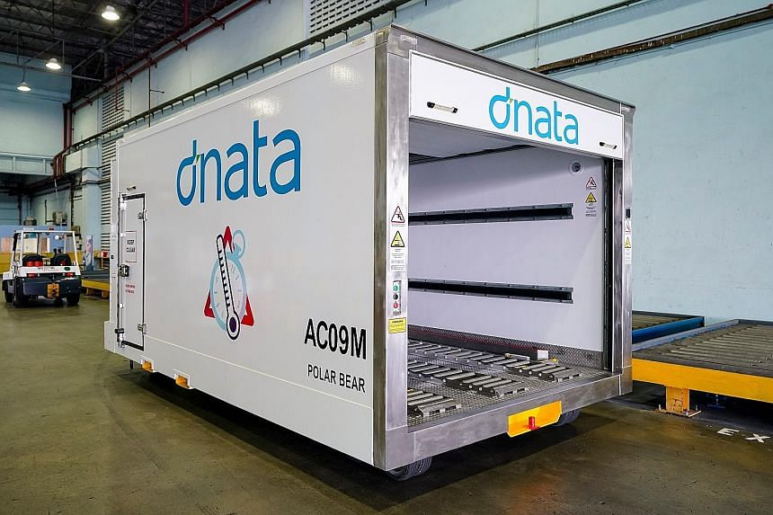 The cool dollies launched by dnata last week feature a closed temperature-controlled system that allows temperature-sensitive pharmaceutical goods to be transported between cargo warehouses and aircraft. PHOTO: DNATA SINGAPORE