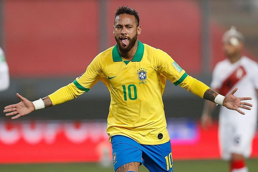 A joyous Neymar after putting Brazil 3-2 up against Peru with his penalty in the South American World Cup qualifier in Lima on Tuesday. He sealed the 4-2 win in added time with his 64th goal for the Selecao.