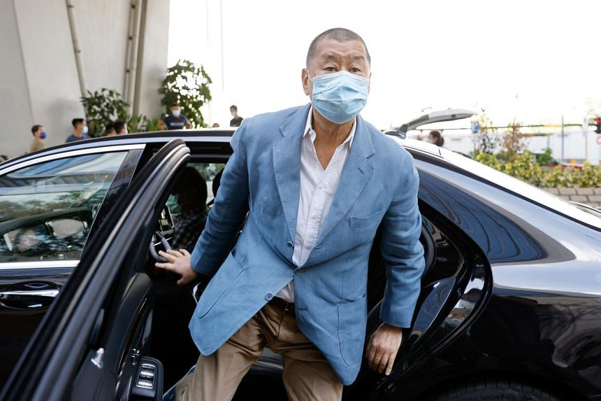 Media mogul Jimmy Lai arriving at the West Kowloon Courts in Hong Kong on Oct 15, 2020.