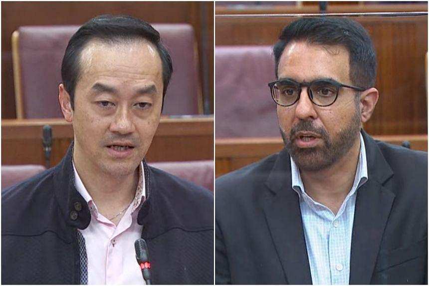 NTUC deputy secretary-general Koh Poh Koon and WP chief Pritam Singh in Parliament on Oct 15, 2020.
