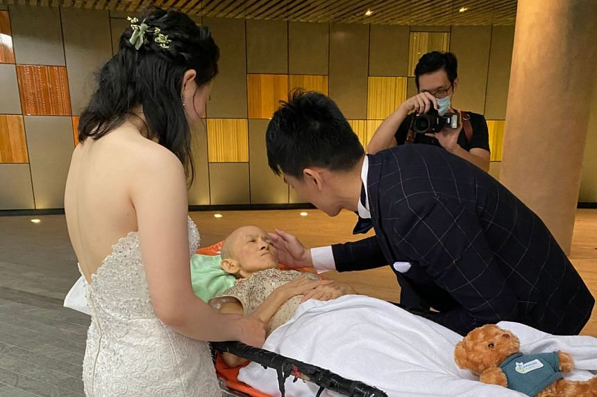 The charity sent Madam Ng, who is now bedridden and staying at home, to the solemnisation ceremony in an ambulance.