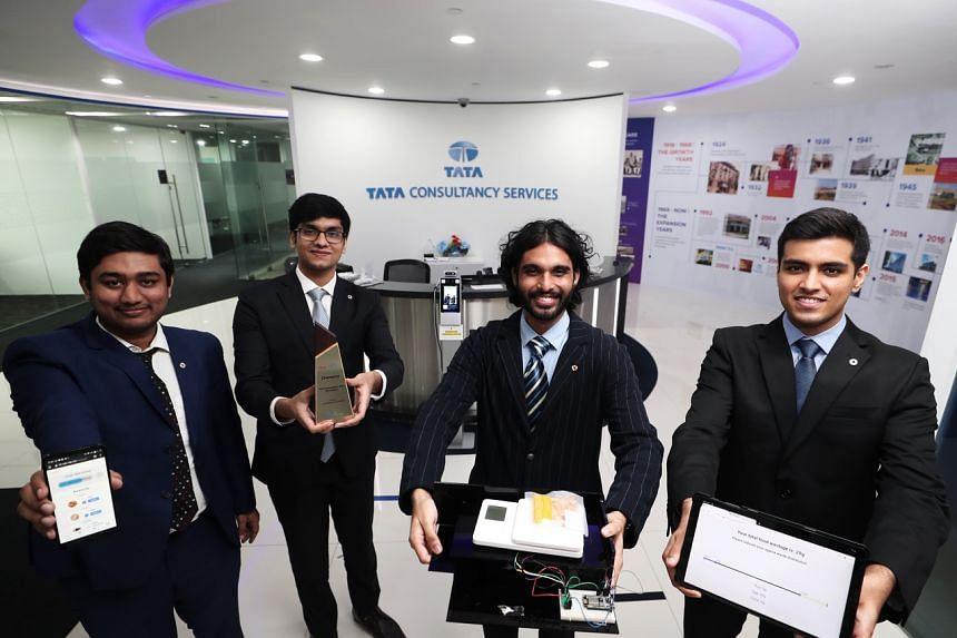 (From left ) University students Aditya Chand, Aamod Mehrish, Ojus Sharma, and Raghav Bhardwaj.