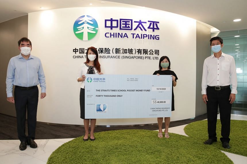 China Taiping Insurance (Singapore) donated $40,000 to the ST School Pocket Money Fund on Oct 15, 2020.