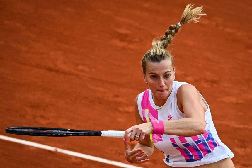 Czech Republic's Petra Kvitova returns the ball to Sofia Kenin of the US on Oct 8, 2020.