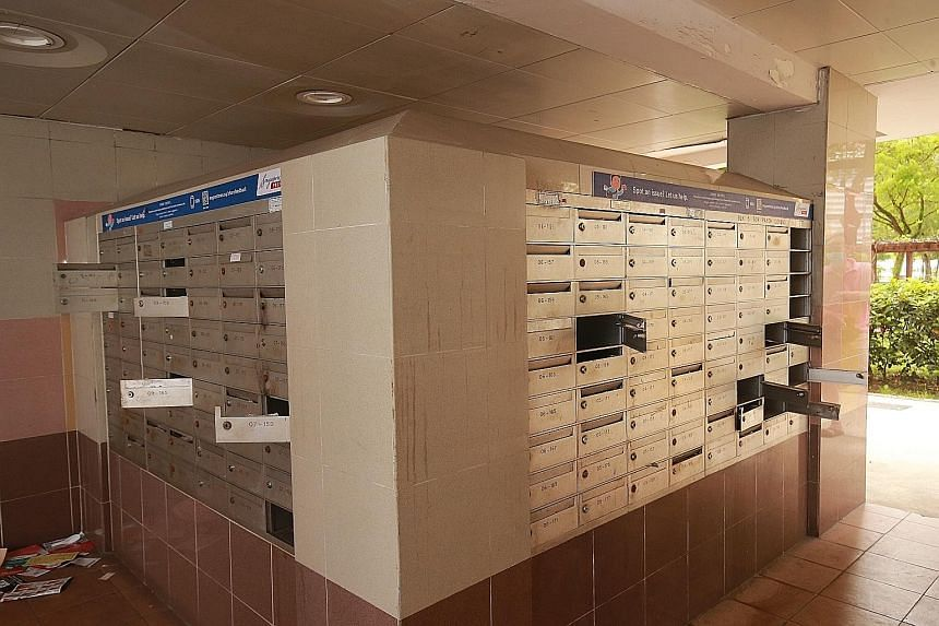 Some of the letterboxes that were apparently broken into in Lorong 7 Toa Payoh. Members of the public who are eligible for the Budget 2020 grocery vouchers are advised to collect them from their letterboxes as soon as possible, and keep their letterb