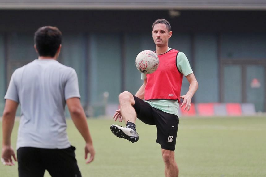 Tampines Rovers' defender Daniel Bennett at their training session at Tampines Stadium on Oct 14, 2020.