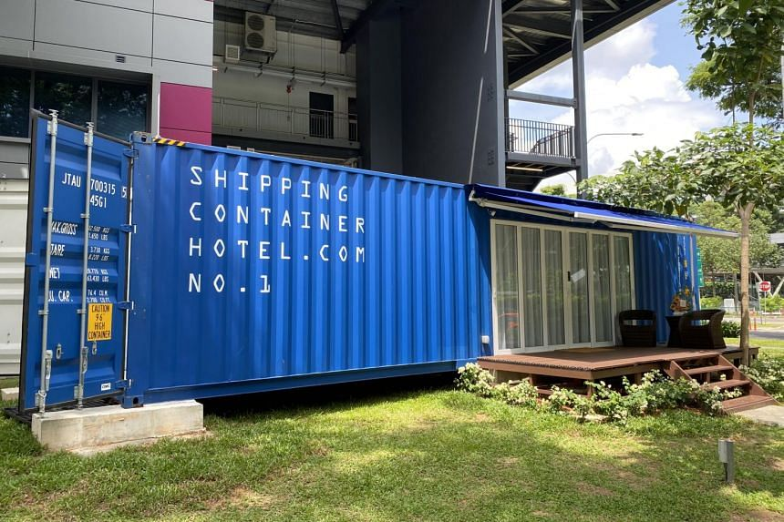 Two cargo containers form the hotel, each rented to guests separately.