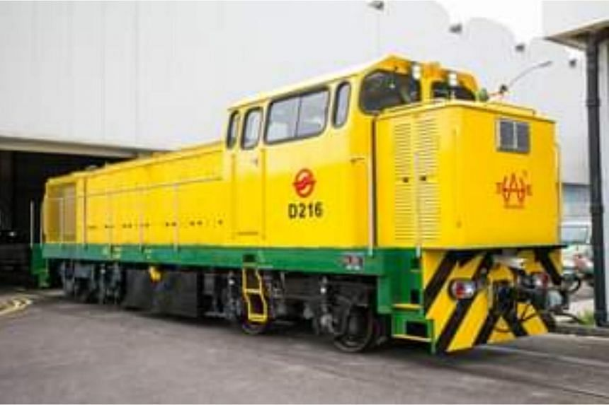 An engineering locomotive used for hauling heavy equipment for after-hours maintenance.