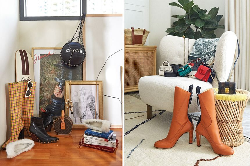 A display of Yoyo Cao's (left) favourite things (above) and a collection of her mini bags and Fendi boots in a corner of her living room (below). Cao's eclectic and minimalist style extends to her living space (left), which has a base palette of whit