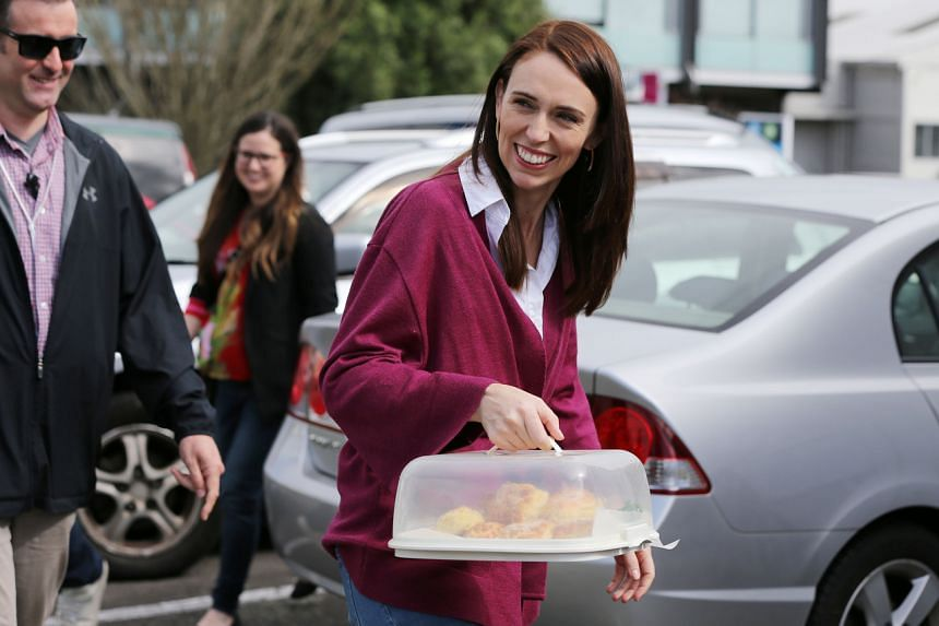 New Zealand Prime Minister Jacinda Ardern arrives to visit the Labour Party's election day volunteers in Auckland on Oct 17, 2020.