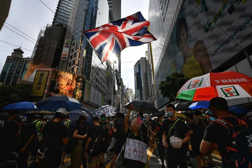 Alexandra Wong seen at anti-government protests in Hong Kong last year, waving a large British flag.