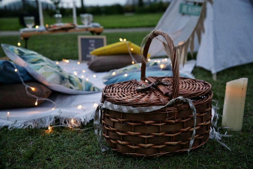 The setup by Pie in the Sky Picnics at Gardens by the Bay East's promenade lawn on Oct 7, 2020.