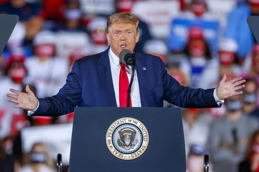 During the rally, President Donald Trump raised the possibility of a loss to Mr Joe Biden, though making light of it.