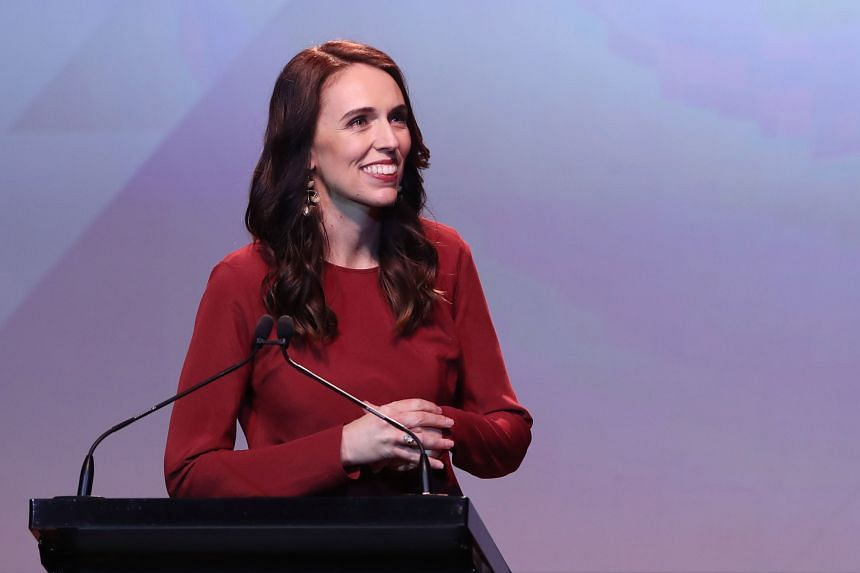 New Zealand Prime Minister Jacinda Ardern speaks at the Labour Party's election night event in Auckland on Oct 16, 2020.