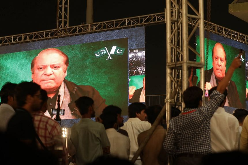 A speech by former Pakistani prime minister Nawaz Sharif is televised at a rally in Gujranwala, Pakistan, on Oct 16, 2020.