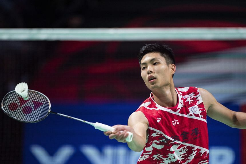 Taiwan's Chou Tien Chen in action during a match against Anders Antonsen at the Denmark Open in Odense on Oct 17, 2020.