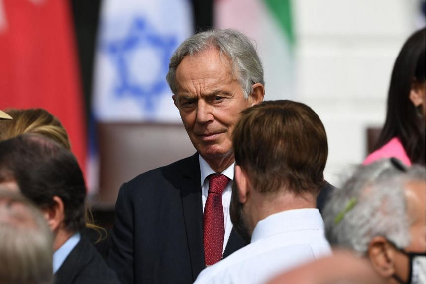 Tony Blair was in Washington for a ceremony at which Israel signed agreements establishing formal relations with Bahrain and the United Arab Emirates.