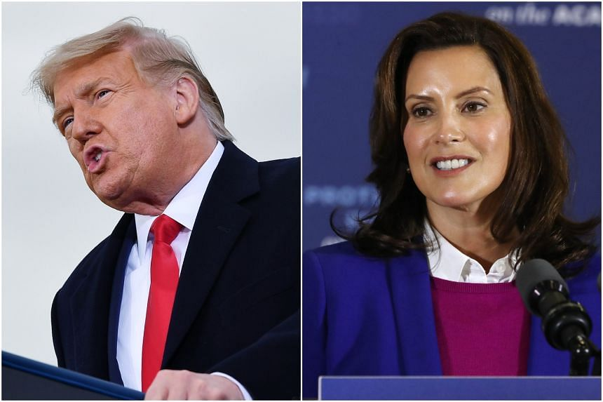 "President Donald Trump targeted Michigan Governor Gretchen Whitmer several times at a rally on Oct 17, calling her ""dishonest""."