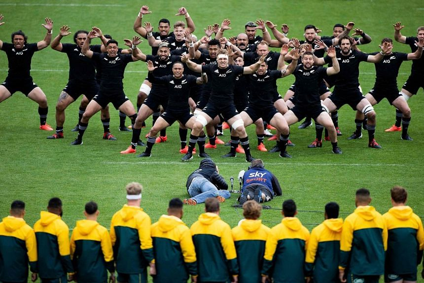 New Zealand players perform the haka before the start of the Bledisloe Cup rugby union match in Wellington, on Oct 11, 2020.