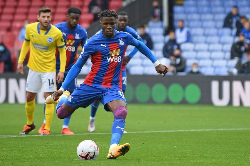 Crystal Palace's Wilfried Zaha (above) fired past Brighton goalkeeper Mat Ryan for his fourth goal of the season.