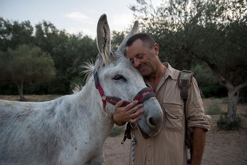 Mr Luis Bejarano (left), president of The Happy Little Donkey association in Andalusia, hugging a donkey at the Enchanted Forest in Hinojos, south of Spain. He started the Doctor Donkey therapy to ease the stress of healthcare workers who have been d