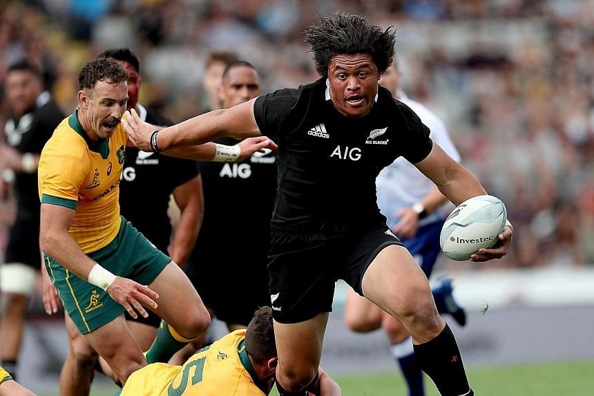 New Zealand's Caleb Clarke making a break in the Bledisloe Cup match against Australia in Auckland. He played a huge role in two tries early in the second half that put the All Blacks on the way to a 27-7 win. PHOTO: AGENCE FRANCE-PRESSE