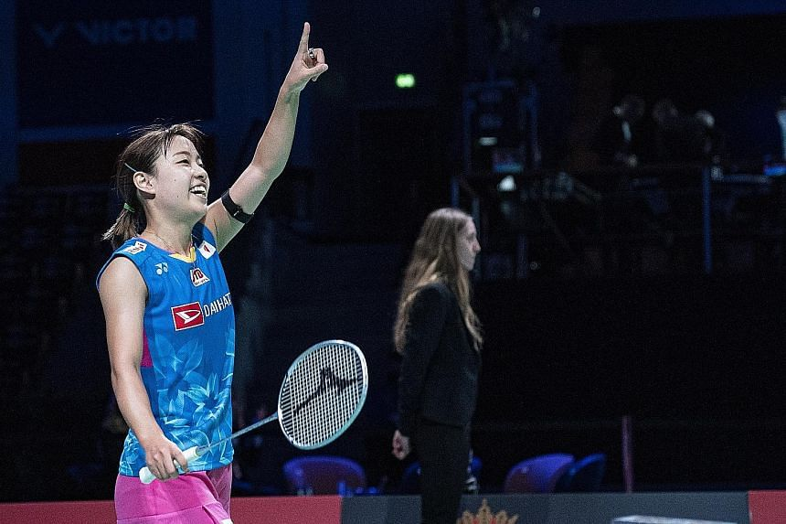 A joyous Nozomi Okuhara of Japan after beating Carolina Marin of Spain 21-19, 21-17 at the Denmark Open in Odense. It was the Rio 2016 bronze medallist's first badminton tour title after six recent straight losses in finals.
