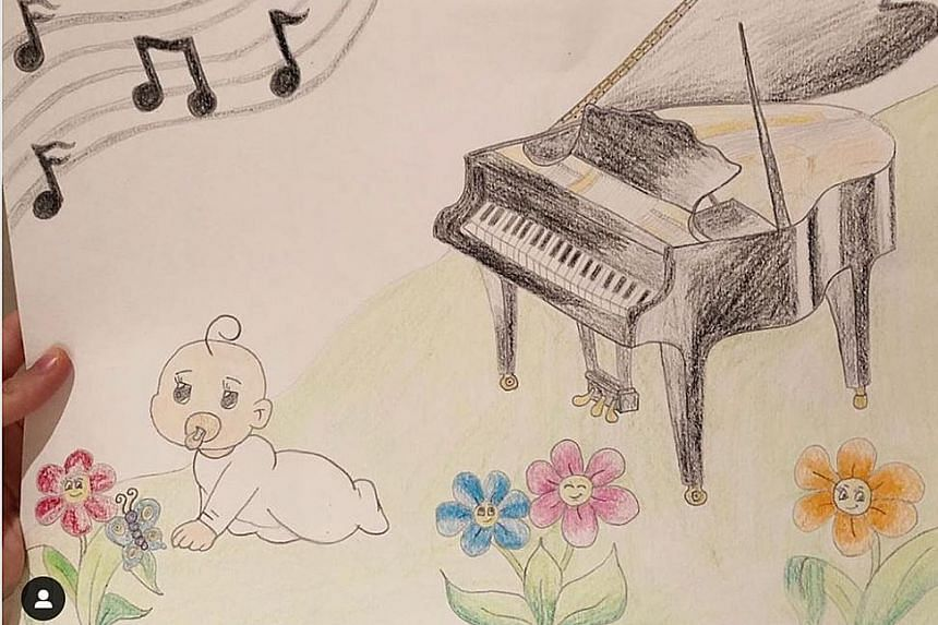 Lang Lang and his wife Gina Alice Redlinger broke the news online with a drawing of a baby (above).