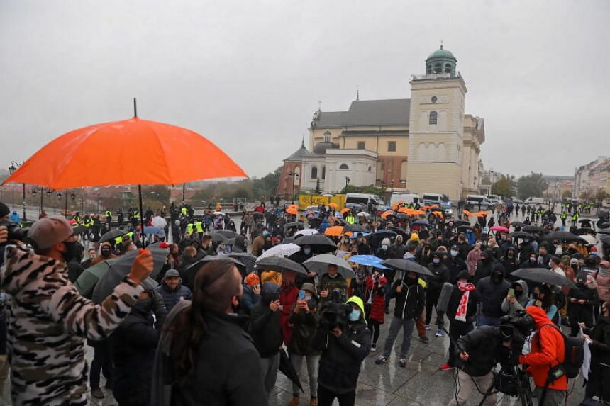 A protest held by employees of the fitness industry in Warsaw, Poland, on Oct 17, 2020.