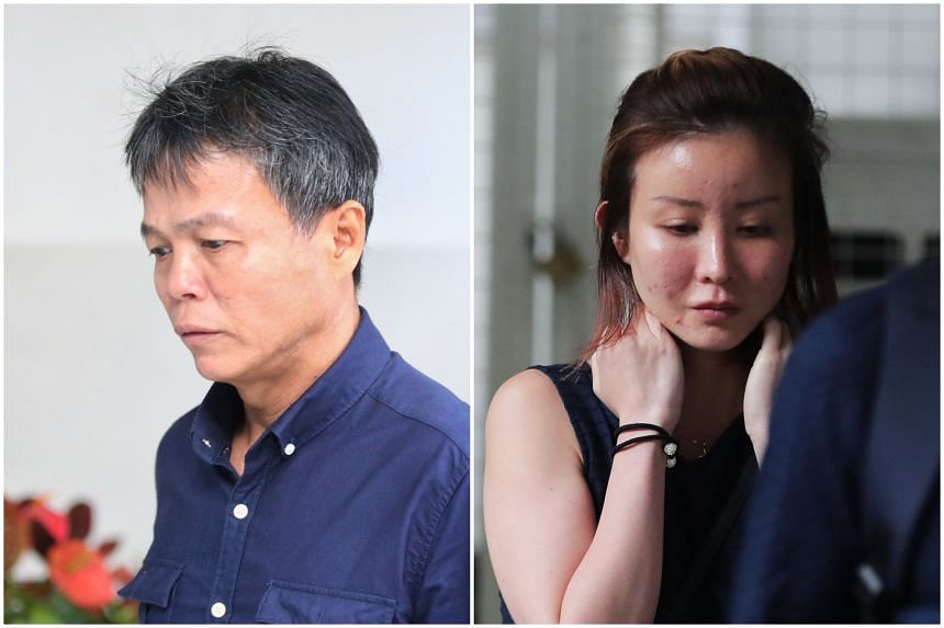 Ong Hock Chye (left) is one of two men on trial for alleged involvement in a conspiracy to cause grievous hurt to the boyfriend of Ms Audrey Chen (right).