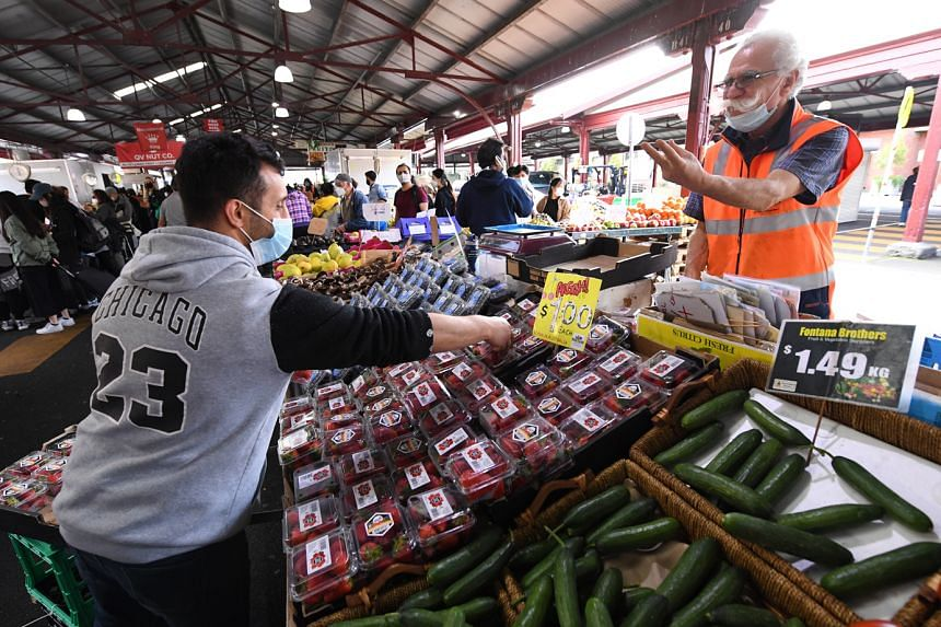 Queen Victoria Market in Melbourne yesterday. After more than 100 days in a strict lockdown that allowed only for two hours of outdoor activity a day, the five million people living in Melbourne, Victoria's capital, will be able to spend as much time