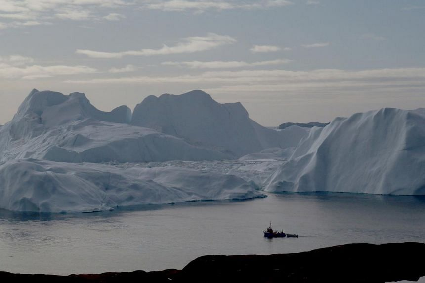 Greenland is largely an ice sheet with a rocky coastline of 44,000km.