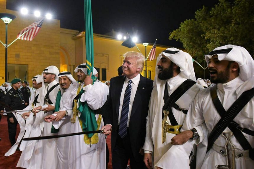 On his first foreign trip as US president, Mr Trump was given a hero's welcome in Riyadh.